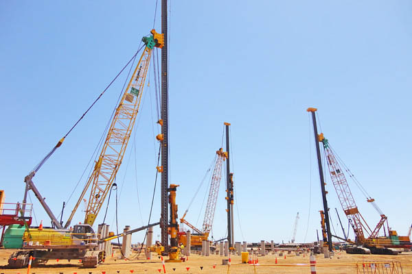 Image of pile driving at the Wheatstone LNG terminal in Australia